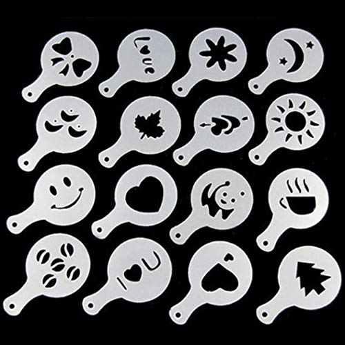 Voiks 16Pcs Coffee Decorating Stencils, Foam Latte Art Barista Template for Decorating...