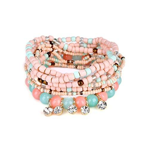 Lureme böhmische Perlen Kristall Charms Multi Strang texturiert Stapelbar Armband Set-Bunt (bl003059-4) (Womens Multi Kristall Perlen)