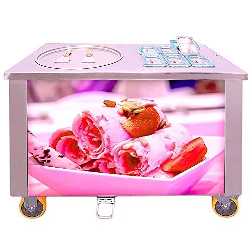 Professionelle Eismaschine Eis Rollen Maschine mit 2 Kompressoren und Eisplatte Ø50cm Ice Cream Rolls Machine (Kompressor Eis Maschine)