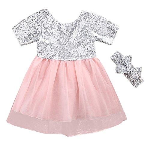 SCFEL Kinder Baby Mädchen Silber Pailletten Kleid Kurzarm Bogen Patchwork Prinzessin Party Kleid Tutu Kleider + Stirnband (Silber & Rosa, 4-5 Jahre)