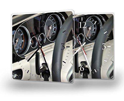 Bentley - Lautlose Wanduhr mit Fotodruck auf Polycarbonat | geräuschlos kein Ticken Fotouhr Bilderuhr Motivuhr Küchenuhr modern hochwertig Quarz | 30 cm x 30 cm mit weißen Zeigern - GERÄUSCHLOS