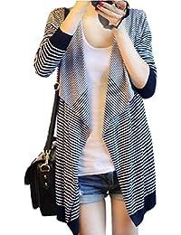 Gaorui irrégulier Pull ample pour femme Motif à rayures Idéal pour les hauts cardigan Sweatshirt châle manteau
