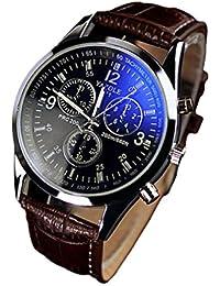 Yongchun De moda de lujo de imitación de cuero para hombre Blue Ray Vidrio Relojes analógicos de cuarzo
