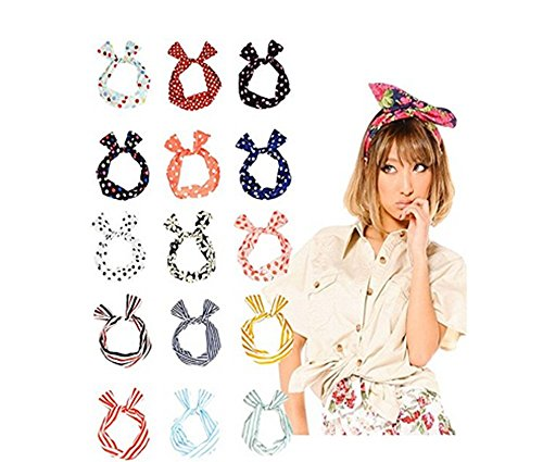 10pezzi Wire fascia multifunzione coniglietto orecchie di coniglio fascia per capelli Sweet multi-styles fascia per donna, colori assortiti - Multi Wire