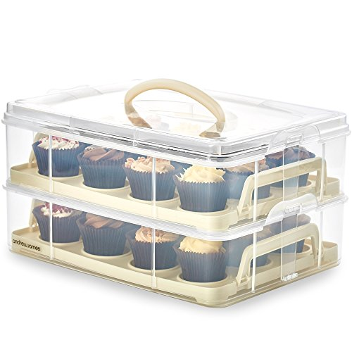 Andrew James Cupcake Carrier and Transporter Box 2 Tier - Holds 24 Cup Cakes or a Large Cake with the Removable Trays - Cream Plastic Base and Clear Lid with Carry Handle