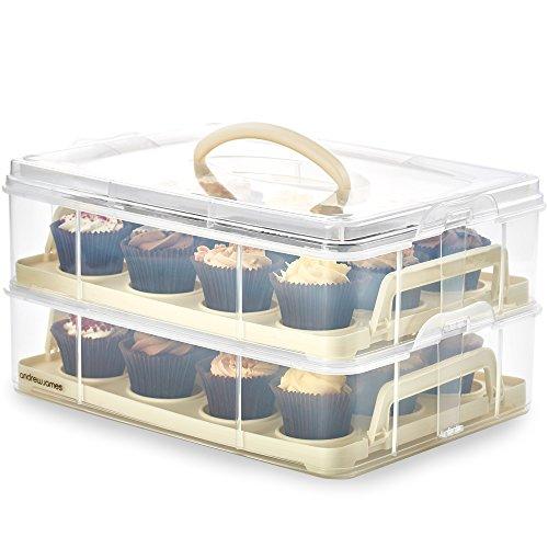 Andrew James Kuchen-Transportbox 2-Etage mit Deckel und Griff | Cupcake Halter aus Kunststoff für 24 Cupcakes | Abnehmbares Brett für Große Kuchen | Cremefarbig