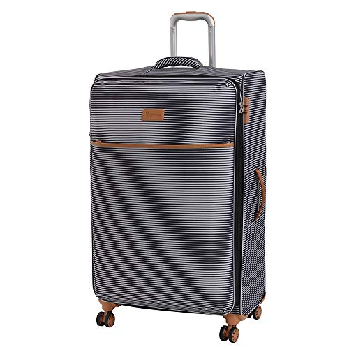 it luggage Beach-Stripes 4 Wheel Lightweight Semi Expander Suitcase Large with TSA Lock Koffer, 80 cm, 127 liters, Mehrfarbig (Black/Grey Stripes)