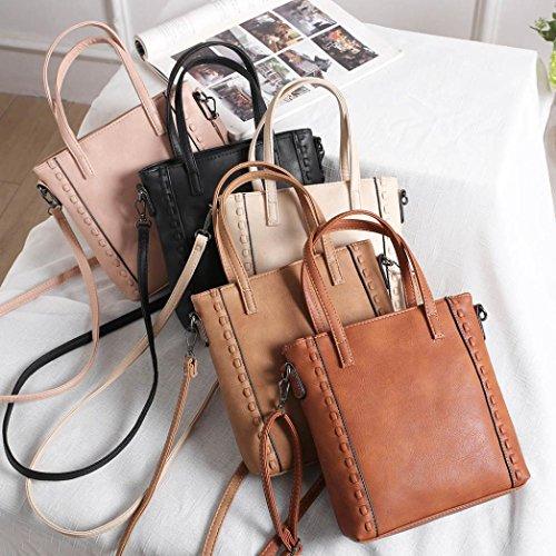 BZLine® Frauen Vintange Hand gewebte Dual-Use Portable Messenger Bag Handtasche Khaki