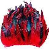 ERGEOB Hahn Feder Stoffstreifen 2 Meter - Ideen für die Bekleidung, Kostüme, Hüte rot