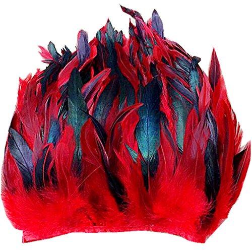 ERGEOB® Echte Hahnenfedern auf 200cm Stoffstreifen in Rot - 13 Farbvarianten - Ideal für Fasching, Karneval, Halloween, Basteln, Bekleidung, Kostüme.
