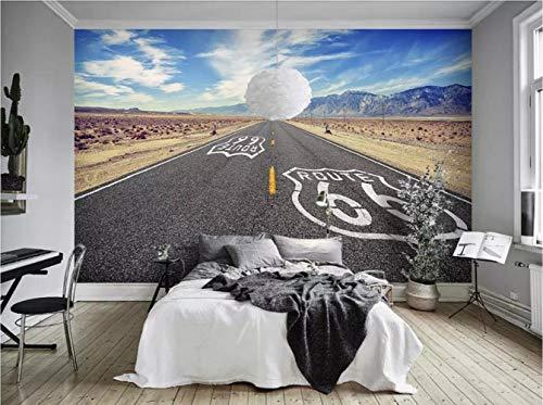Fotomurali 3D Delle Nuvole Di Bianco Del Cielo Di Route 66 Carta Da Parati 3D Effetto Quadri Murali Gigante Murale Decorazione