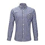 Oktoberfest Wiesn Hemd Slimfit Herren Trachtenhemd Baumwolle M/L kariert rot + blau/weiß Weiss (L, blau/weiß)