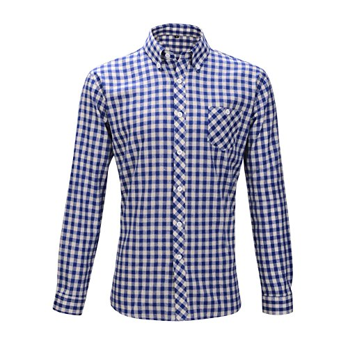 Oktoberfest Wiesn Hemd Slimfit Herren Trachtenhemd Baumwolle M/L kariert rot + blau/weiß Weiss (M, blau/weiß)