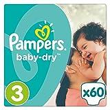 Pampers Baby Dry Windeln, Gr. 3 (5-9 kg), bis zu 12 Stunden Trockenheit, 3er Pack (3 x 60 Stück)