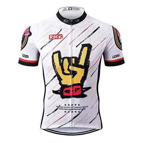 Thriller Rider Sports® Herren Rock Music White Sport & Freizeit MTB Fahrradbekleidung Radtrikot Small -