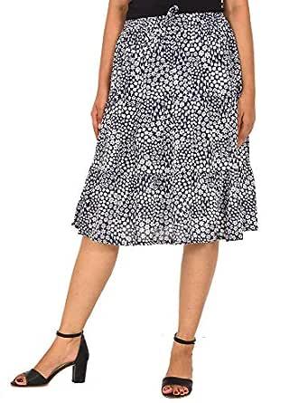 COTTON BREEZE Women Midi Skirt (FP567_Blue_Free Size)