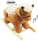 Unbekannt XL Plüsch und Holz Schaukelpferd - mit Sound / Melody / Musik - mit Einstieghilfe und Sicherheitsgurt - Kind - Schaukeltier mit Plüschbezug / Schaukel Esel Po..