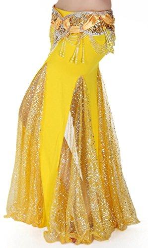 Bellyqueen Bauchtanz Kostüm - bellyqueen Frauen Sexy Bauchtanz Kostüm Kleid Paket Hüfte Rock Bilaterale Split Lace Maxi Rock Dance Röcke, gelb
