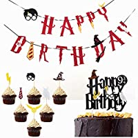 Little Magician Theme Happy Birthday Banners Cake Topper Suit Hogwarts Lightning Felt Flags Bunting for Baby Birthday Party Hanging Decoration