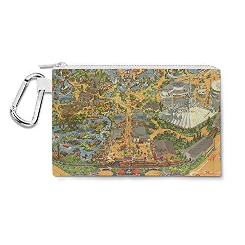 Disneyland carte du monde vintage sur toile Zip Pouch – Multi Purpose Trousse Sac en 6 tailles XL Canvas Pouch 12x9 inch jaune