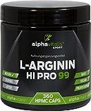 L-Arginin hochdosiert - 99% Wirkstoff - 360 MegaCaps - XXL Dose - L-Arginin Kapseln in Premiumqualität - vegan - allergikergeeignet - ohne Zusätze - von alphavitalis SPORT® - Trainingsbooster L-Arginin Base