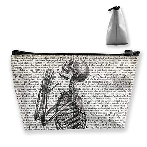 Storage Bag Vintage Praying Skeleton Print On Anatomy Dictionary Page Background Travel Makeup Train Case Storage Bag (Dictionary Dance Of Oxford)