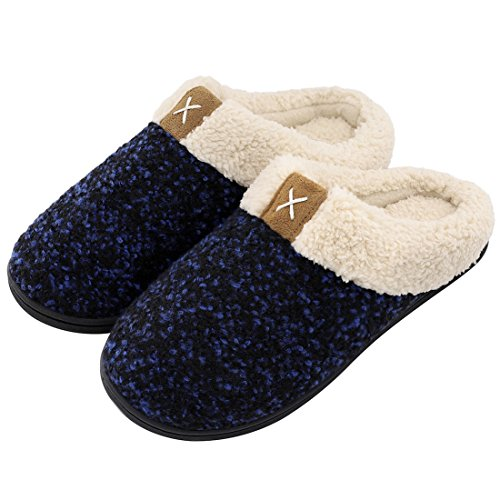 Ladies' Comfort Memory Foam Slippers Wool-Like Plush Fleece Lined House Shoes w/Indoor, Outdoor Anti-Skid Rubber Sole (9-10 UK / 42-43 EU, Royal Blue)