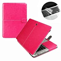 Se7enline Folio Case Cover for MacBook Pro 13-inch Model A1278 -Hot Pink PU Leather Premium Quality with Microfiber Clip on Sleeve Filp Case Cover, with Transparent Keyboard Cover Protecter