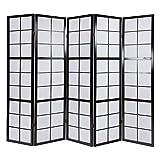 Homestyle4u 283, Paravent Raumteiler 5 teilig, Holz Schwarz, Reispapier Weiß, Höhe 175 cm
