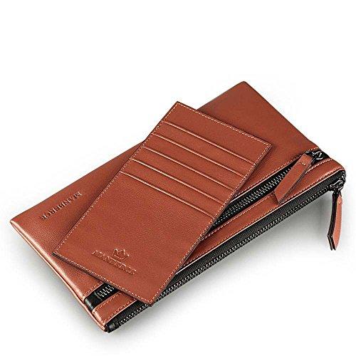Penao Herren Leder Geldbörse, lässig weichen Leder-Portemonnaie, schlanke kann weggenommen Werden Schaffell Handtasche Handtasche, Größe 19.3cmx0.7cmx10.5cm -