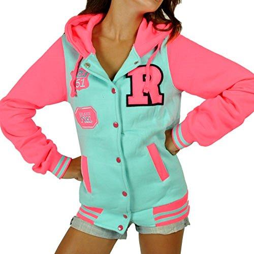 CBKTTRADE Damen College Jacke Old School Jacket Sweat Jacke Fox Hooded Boxusa Fox Minze Pink