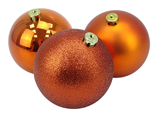 Christmas concetti® pacchetto di 3 – extra large 150 mm christmas tree baubles – shiny, matte & glitter decorato baubles (rame)