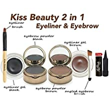 Kiss Beauty 4-in-1 Gel Magic Eye Liner and Eyebrow Powder with Laperla Kajal, Black and Brown