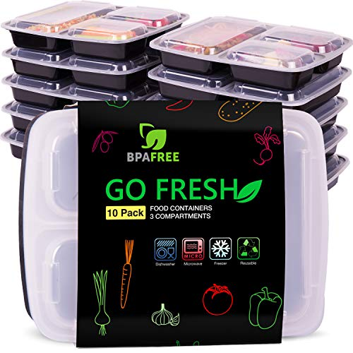 3 Compartiments Récipients Alimentaires [10 pack] pour être utilisé comme Bento Lunch Box, Meal Prep Containers / Lunch Box pour les Enfants – BPA free, Micro-onde, Congélateur, Lave-vaisselle sûr