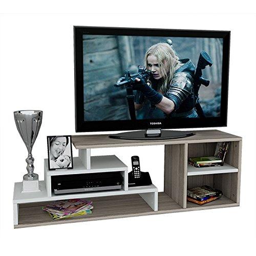 Luca set soggiorno - mobile tv porta - parete attrezzata in design moderno (bianco/avola)