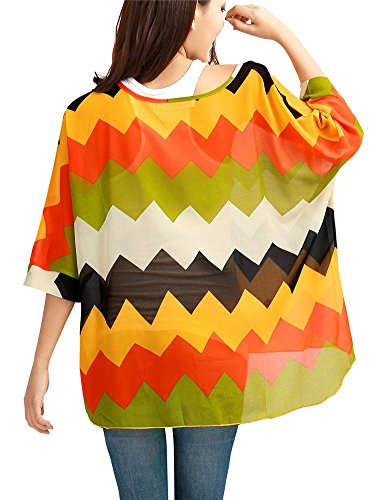 Donna Camicia Chiffon Girocollo Camicette Magliette Fiori Camicie Sciolto Blusa Camicetta Maniche Manica 3 4 Tops - Landove Modello 05