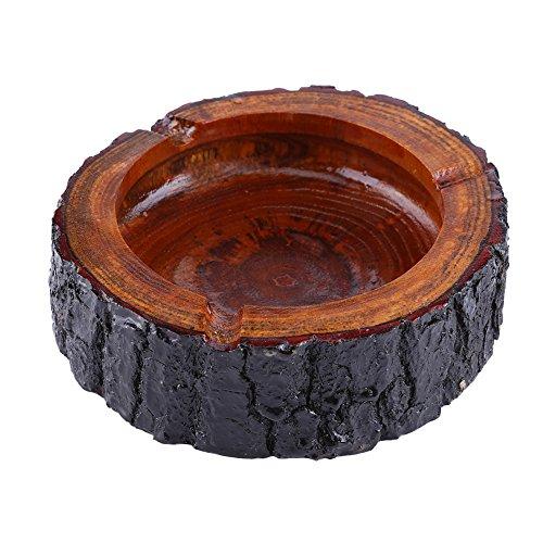 3 Tamaños Redondo Cenicero de Madera del Tabaco de Color Marrón de Hecho a Mano (11-12cm)