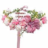 AWAYTR Blumen Stirnband Hochzeit Haarkranz Blume Krone (Bleich Malvenfarben) - 4