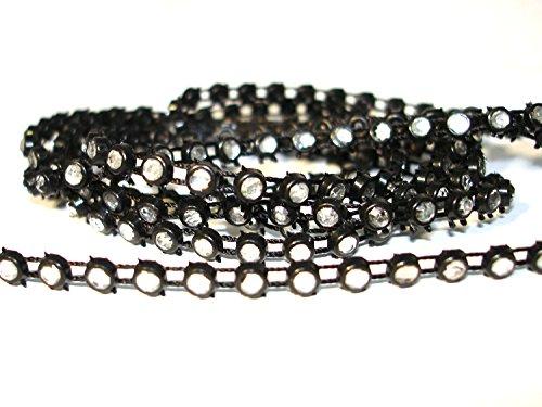 1 m Strassband, Strass Band, SS 18, schwarz/kristall, s14-1 (Verkauf Bauchtanz Kostüm)