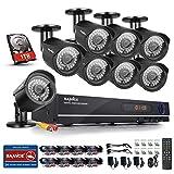 Sannce Überwachungskamera-System mit 8 Kanälen, 1 TB HDD-Festplatte, 8 x 720P AHD Outdoor