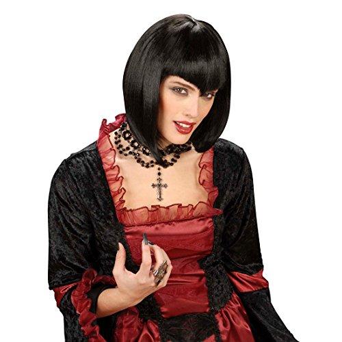 Gothic Vamp Perücke schwarz für Damen Fasching Karneval Damenperücke