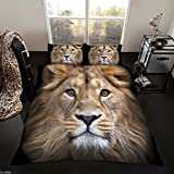 Lujo Edredón Impreso Funda Nórdica de Juego de ropa de cama con funda de almohada, 50% algodón/50% poliéster, 3D LION, matrimonio