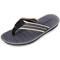 KCatsy Breathable Casual Toe Post Stripe Non-Slip Flip Flops Men Slippers