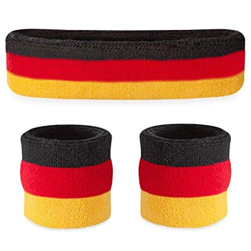 Suddora Stirnband/Wristband Set–Sport Schweißbänder für Kopf und Handgelenk, Herren, Black Red Yellow