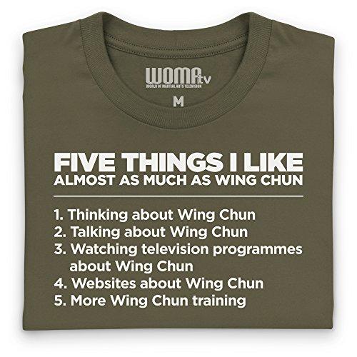 Five Things I Like - Wing Chun T-Shirt Funny Novelty Gift, Herren Olivgrn
