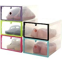 Cajas de Almacenaje,VENMO Plegable apilable claro cajón de plástico caja del organizador de la caja titular almacenamiento del zapato