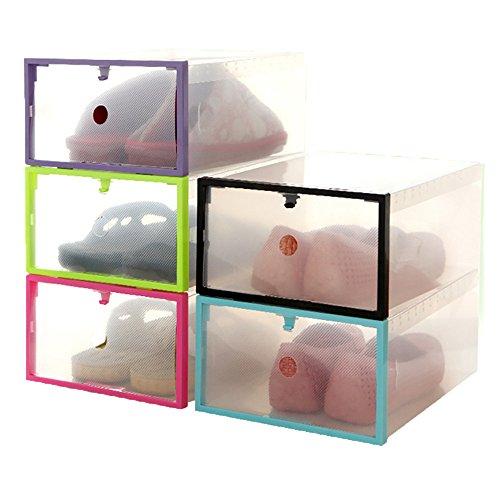 Tonsee Kunststoff Schuh Box,Faltbare Stackable Tasche Organizer Box Halter Schuh Lagerung -