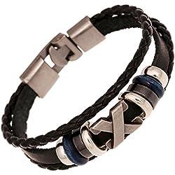 Weimay Cuff pulsera pulsera de cuero ajustable (negro)