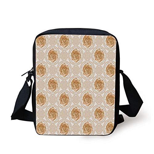 Designer Inspired Bag Purse Handtasche (Flower,Vintage Rose Pattern Baroque Inspired Dated Royal Circle Ornate Motifs Print,Pale Brown White Print Kids Crossbody Messenger Bag Purse)