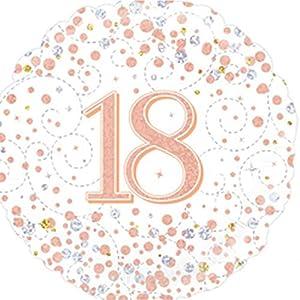 OakTree 227086 - Globo de 18 cumpleaños (45,7 cm), color blanco y oro rosa